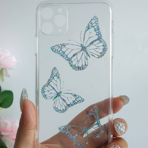 Butterfly Pattern Clear iPhone 12ProMax Phone Case